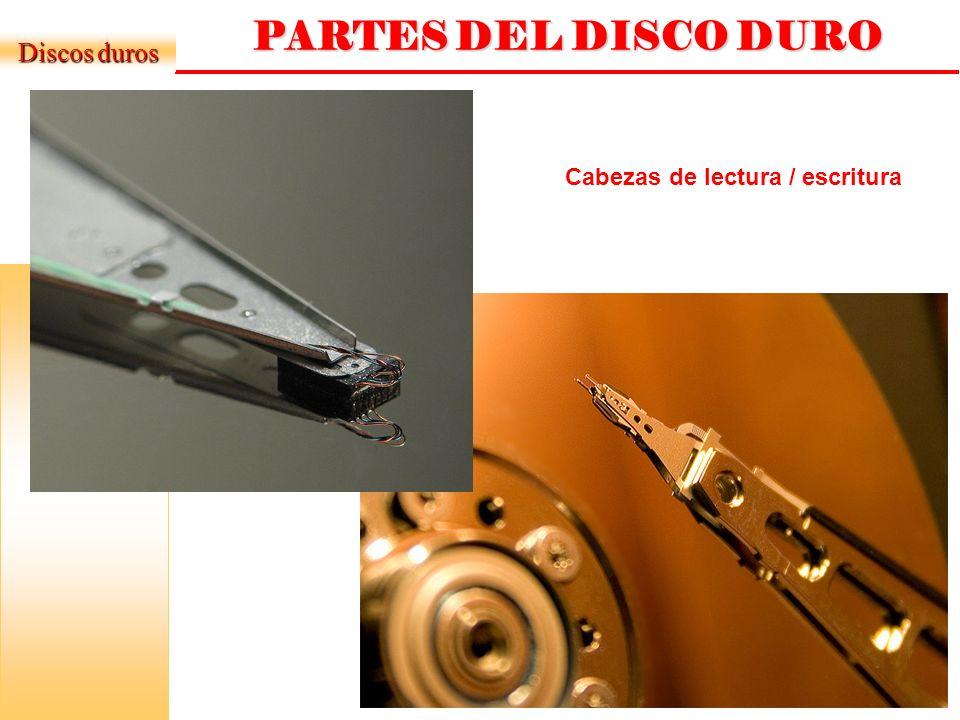 DISCOS DUROS ESTRUCTURA FÍSICA Discos duros Platos (normalmente entre 2 y 4): discos (de aluminio o cristal) concéntricos y que giran todos a la vez.