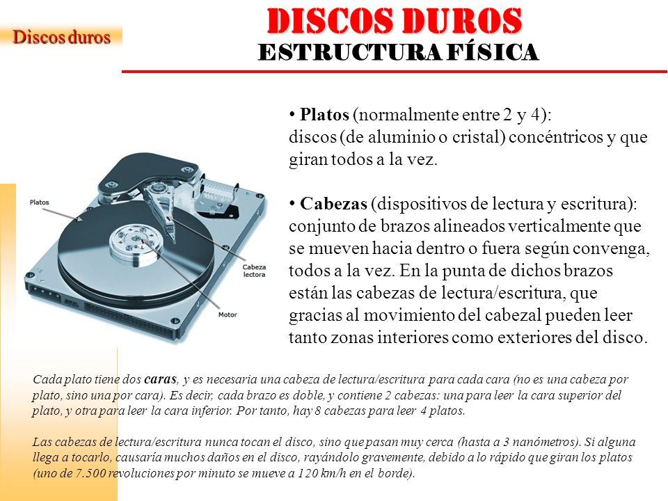 DISCOS DUROS ESTRUCTURA FÍSICA Discos duros Pista: Una circunferencia dentro de una cara.