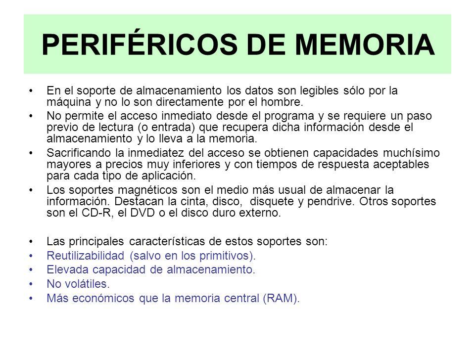 PERIFÉRICOS DE MEMORIA En el soporte de almacenamiento los datos son legibles sólo por la máquina y no lo son directamente por el hombre. No permite e