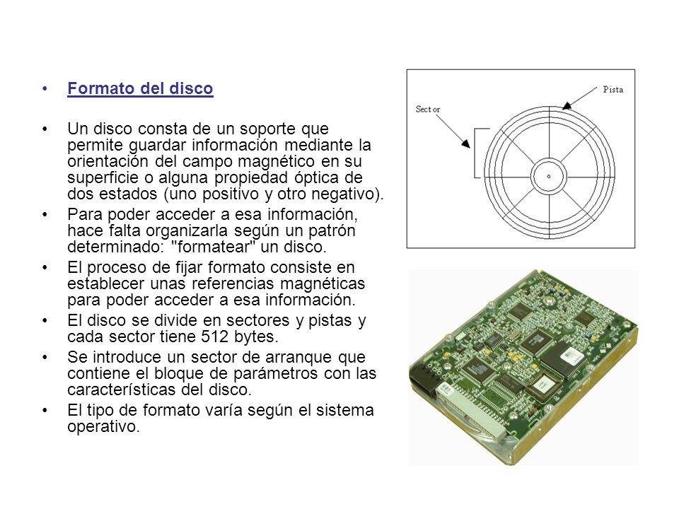 Formato del disco Un disco consta de un soporte que permite guardar información mediante la orientación del campo magnético en su superficie o alguna