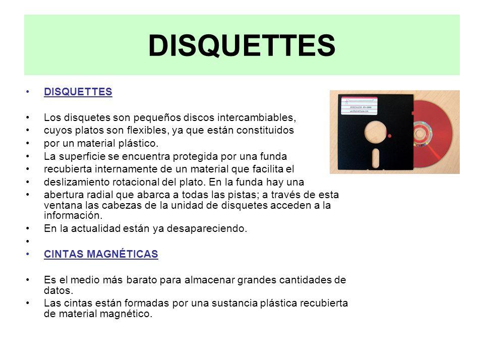 DISQUETTES DISQUETTES Los disquetes son pequeños discos intercambiables, cuyos platos son flexibles, ya que están constituidos por un material plástic