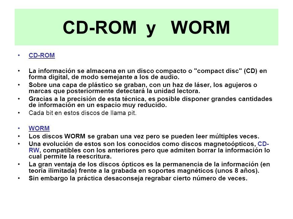CD-ROM y WORM CD-ROM La información se almacena en un disco compacto o