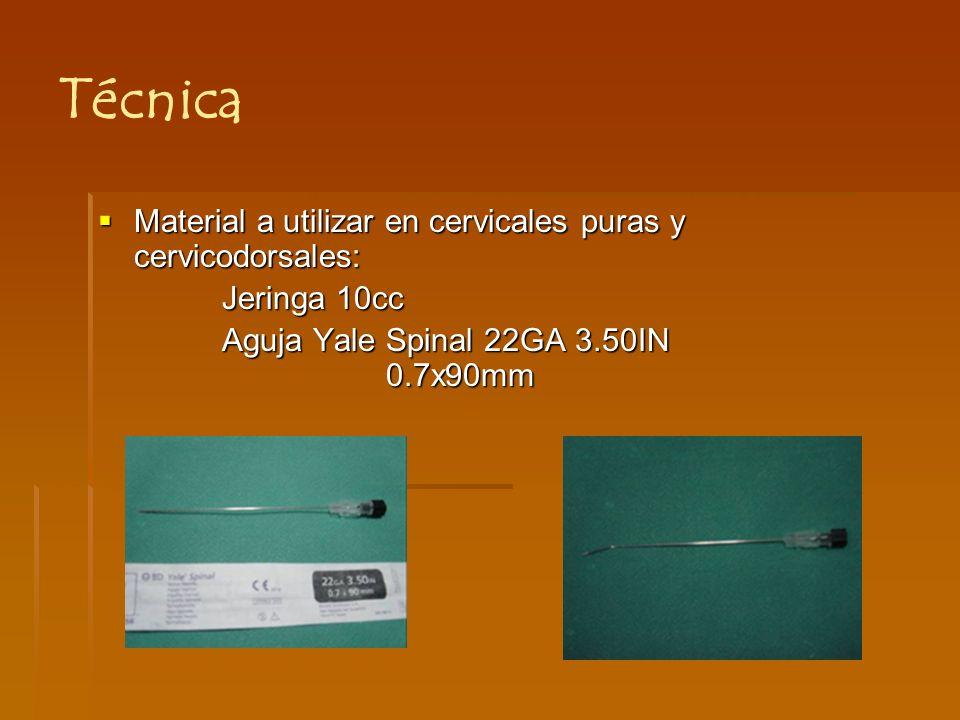 Técnica Material a utilizar en cervicales puras y cervicodorsales: Jeringa 10cc Aguja Yale Spinal 22GA 3.50IN 0.7x90mm