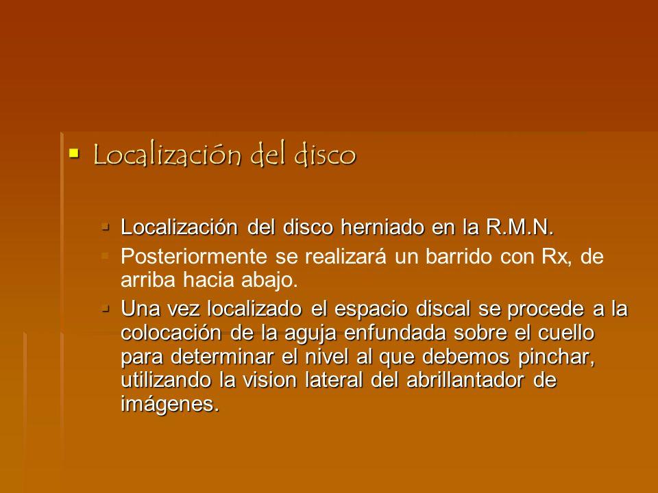 Localización del disco Localización del disco herniado en la R.M.N. Posteriormente se realizará un barrido con Rx, de arriba hacia abajo. Una vez loca
