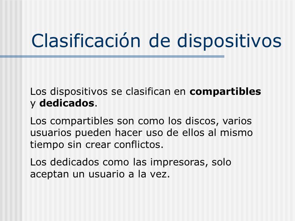 Clasificación de dispositivos Los dispositivos se clasifican en compartibles y dedicados. Los compartibles son como los discos, varios usuarios pueden