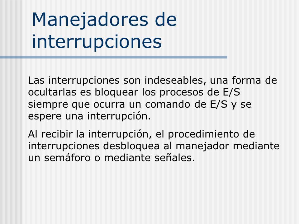 Manejadores de interrupciones Las interrupciones son indeseables, una forma de ocultarlas es bloquear los procesos de E/S siempre que ocurra un comand
