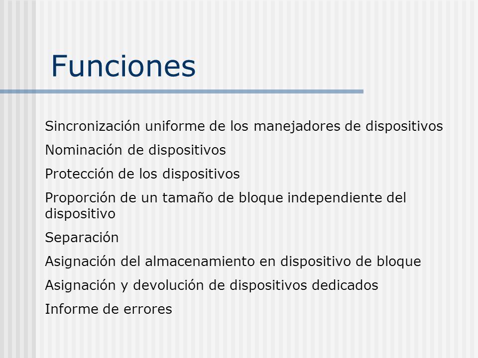 Funciones Sincronización uniforme de los manejadores de dispositivos Nominación de dispositivos Protección de los dispositivos Proporción de un tamaño
