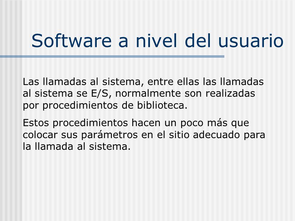 Software a nivel del usuario Las llamadas al sistema, entre ellas las llamadas al sistema se E/S, normalmente son realizadas por procedimientos de bib