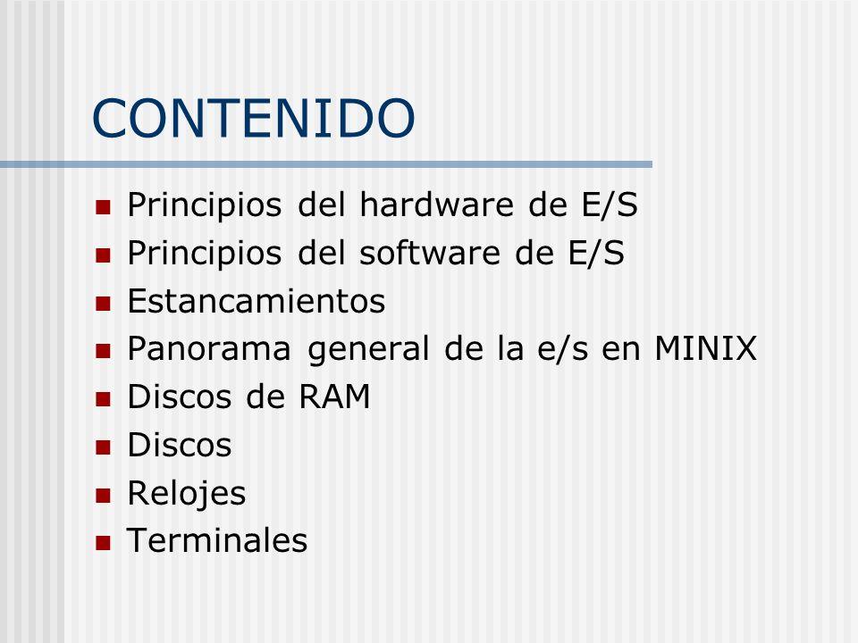 CONTENIDO Principios del hardware de E/S Principios del software de E/S Estancamientos Panorama general de la e/s en MINIX Discos de RAM Discos Reloje