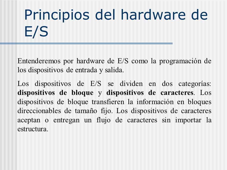 Principios del hardware de E/S Entenderemos por hardware de E/S como la programación de los dispositivos de entrada y salida. Los dispositivos de E/S