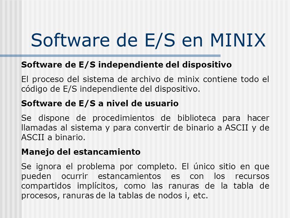 Software de E/S en MINIX Software de E/S independiente del dispositivo El proceso del sistema de archivo de minix contiene todo el código de E/S indep