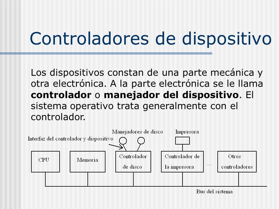 Controladores de dispositivo Los dispositivos constan de una parte mecánica y otra electrónica. A la parte electrónica se le llama controlador o manej