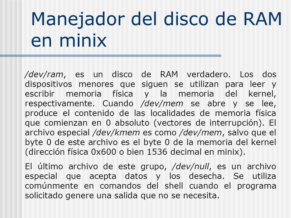 Manejador del disco de RAM en minix /dev/ram, es un disco de RAM verdadero. Los dos dispositivos menores que siguen se utilizan para leer y escribir m