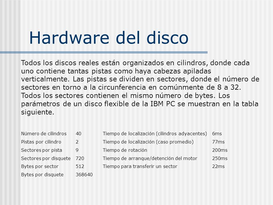 Hardware del disco Todos los discos reales están organizados en cilindros, donde cada uno contiene tantas pistas como haya cabezas apiladas verticalme