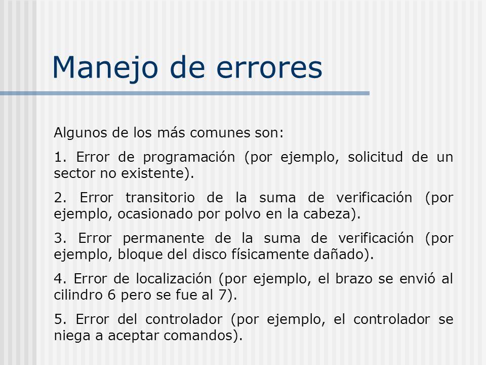 Manejo de errores Algunos de los más comunes son: 1. Error de programación (por ejemplo, solicitud de un sector no existente). 2. Error transitorio de