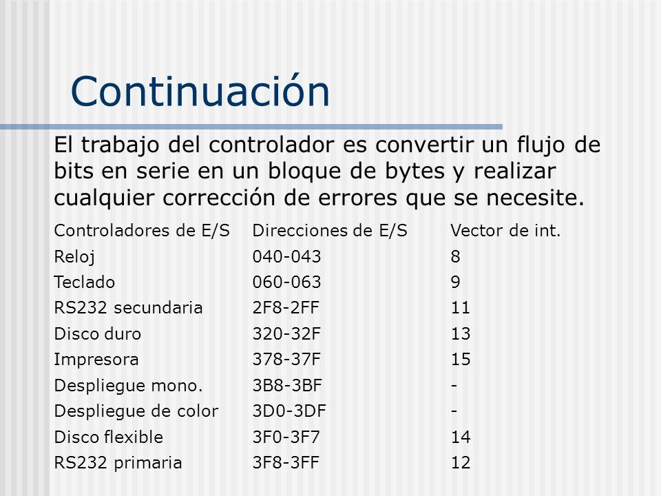 Continuación El trabajo del controlador es convertir un flujo de bits en serie en un bloque de bytes y realizar cualquier corrección de errores que se