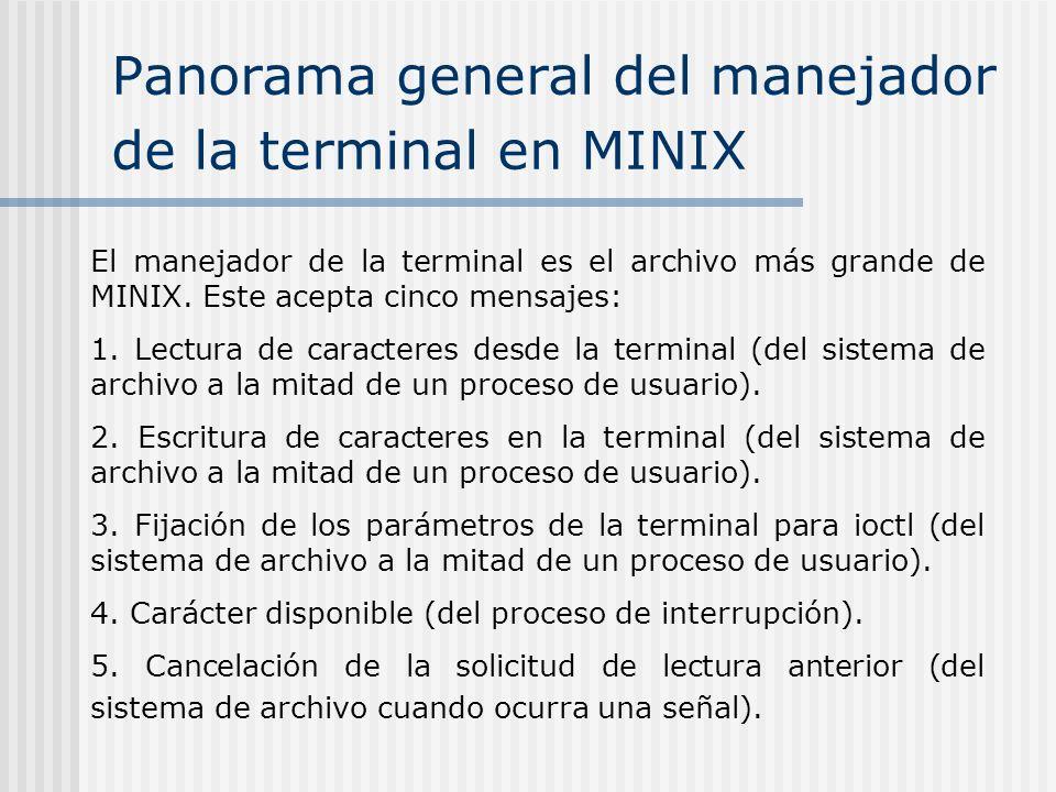Panorama general del manejador de la terminal en MINIX El manejador de la terminal es el archivo más grande de MINIX. Este acepta cinco mensajes: 1. L