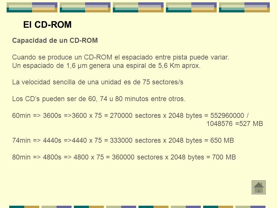 Capacidad de un CD-ROM Cuando se produce un CD-ROM el espaciado entre pista puede variar. Un espaciado de 1,6 μm genera una espiral de 5,6 Km aprox. L