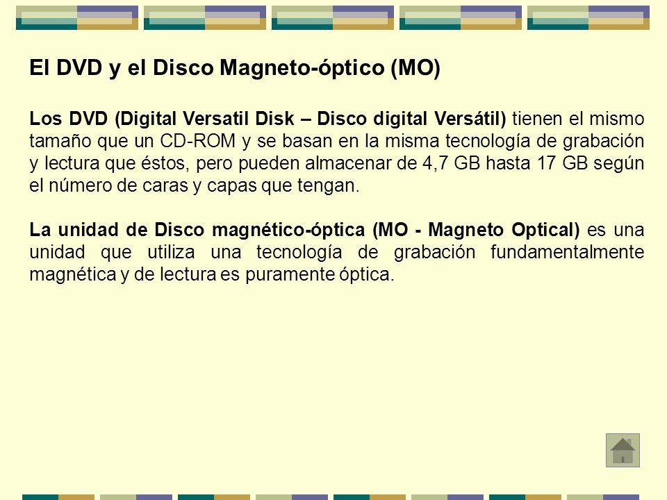 El DVD y el Disco Magneto-óptico (MO) Los DVD (Digital Versatil Disk – Disco digital Versátil) tienen el mismo tamaño que un CD-ROM y se basan en la m