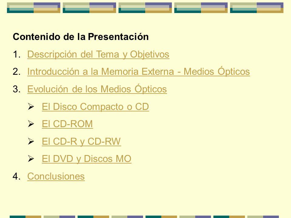 Contenido de la Presentación 1.Descripción del Tema y ObjetivosDescripción del Tema y Objetivos 2.Introducción a la Memoria Externa - Medios ÓpticosIn