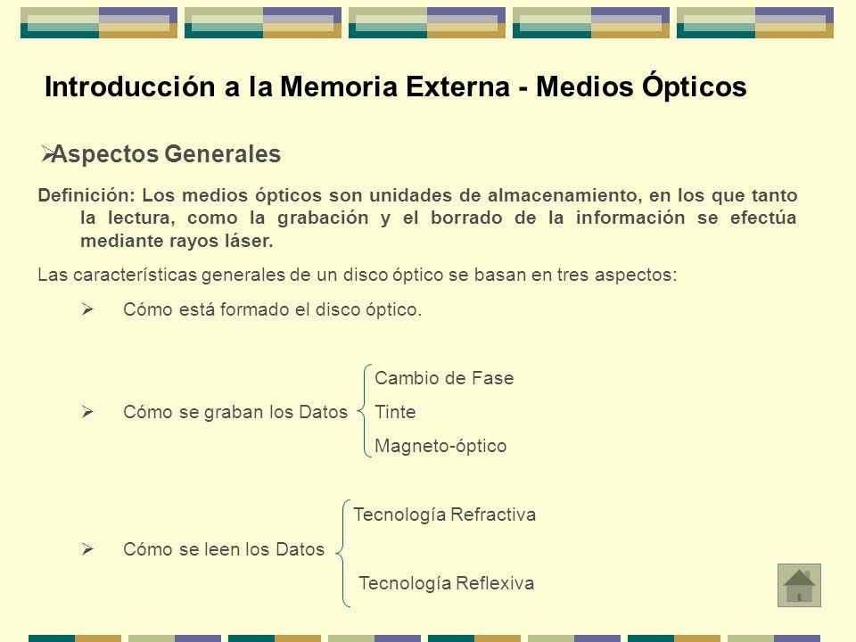 Introducción a la Memoria Externa - Medios Ópticos Aspectos Generales Definición: Los medios ópticos son unidades de almacenamiento, en los que tanto