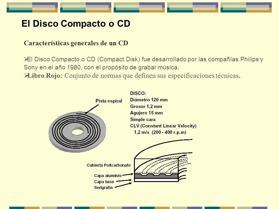 El Disco Compacto o CD Características generales de un CD El Disco Compacto o CD (Compact Disk) fue desarrollado por las compañías Philips y Sony en e