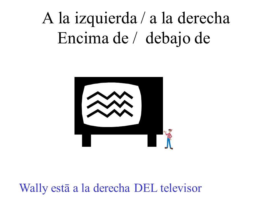 A la izquierda / a la derecha Encima de / debajo de Wally estā a la derecha DEL televisor
