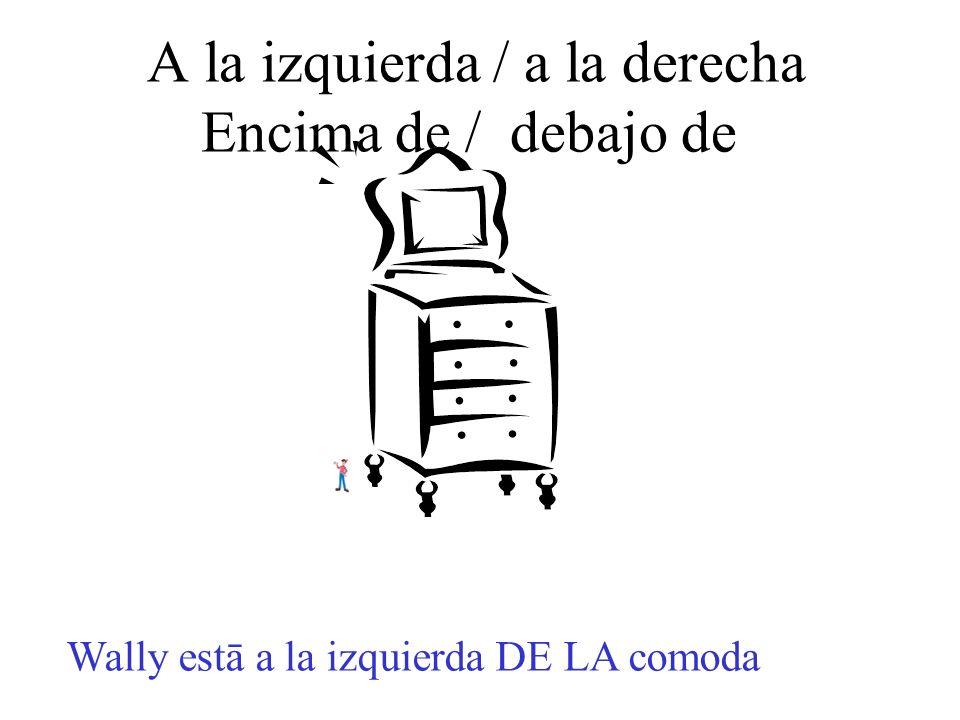 A la izquierda / a la derecha Encima de / debajo de Wally estā a la izquierda DE LA comoda