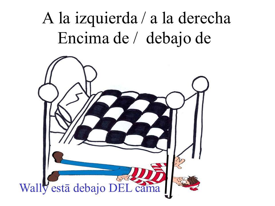 A la izquierda / a la derecha Encima de / debajo de Wally estā debajo DEL cama