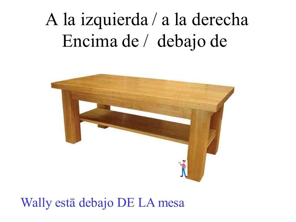A la izquierda / a la derecha Encima de / debajo de Wally estā debajo DE LA mesa