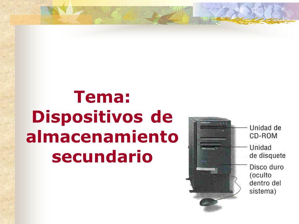 Tema: Dispositivos de almacenamiento secundario Dispositivos magnéticos Unidad de disco duro El medio y el dispositivo forman una sola pieza.