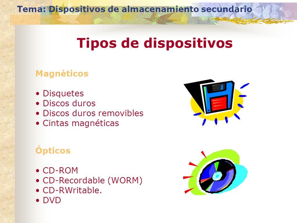 Tema: Dispositivos de almacenamiento secundario Tipos de dispositivos Magnéticos Disquetes Discos duros Discos duros removibles Cintas magnéticas Ópti