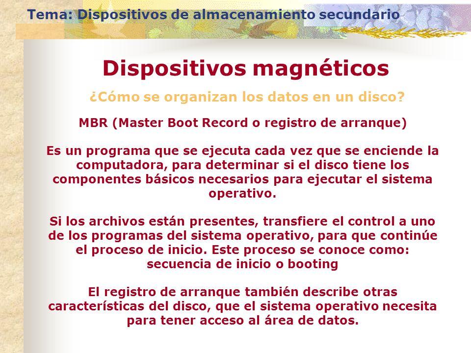 ¿Cómo se organizan los datos en un disco? Tema: Dispositivos de almacenamiento secundario Dispositivos magnéticos MBR (Master Boot Record o registro d