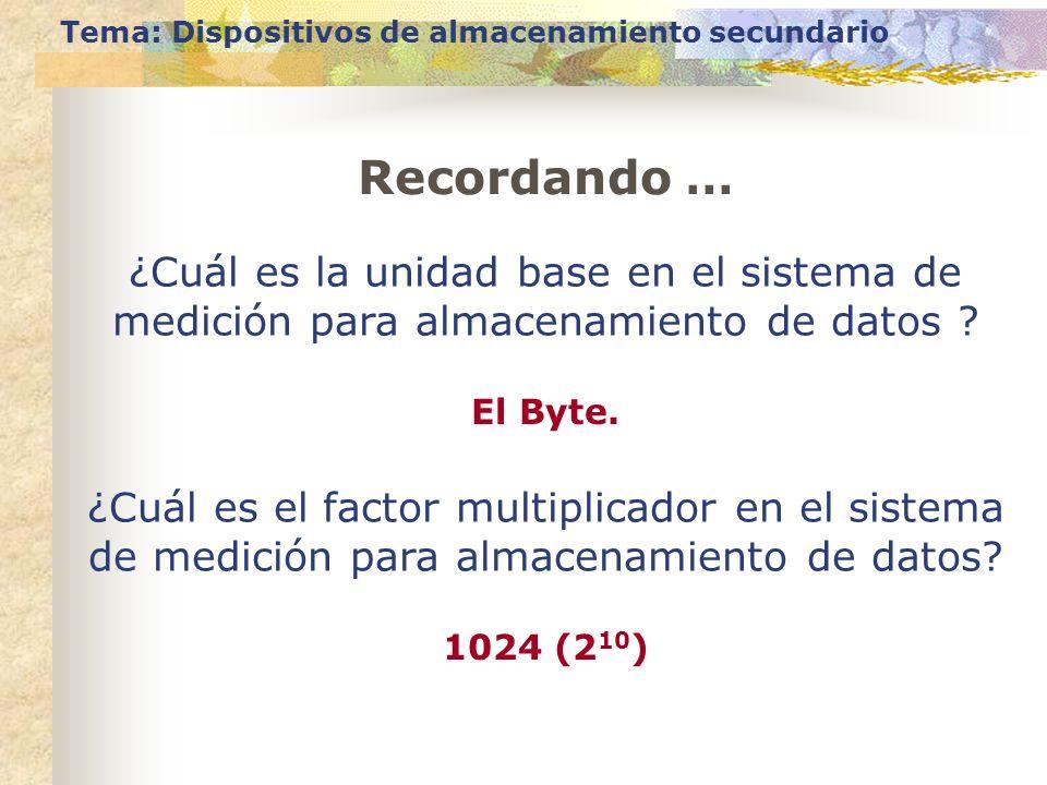 Tema: Dispositivos de almacenamiento secundario ¿Cuál es la unidad base en el sistema de medición para almacenamiento de datos ? El Byte. Recordando …