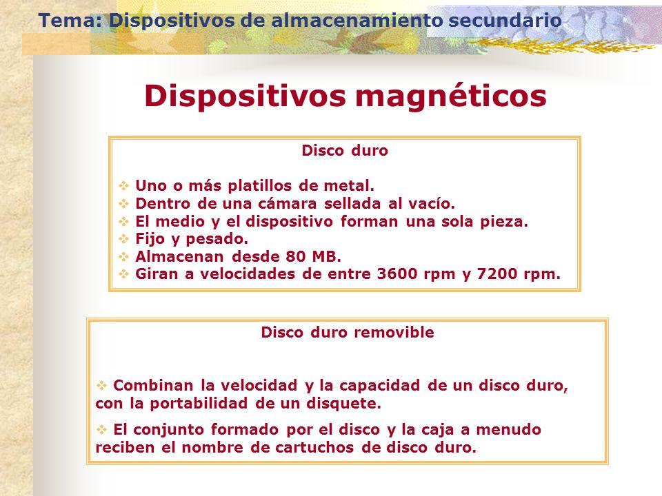 Tema: Dispositivos de almacenamiento secundario Dispositivos magnéticos Disco duro Uno o más platillos de metal. Dentro de una cámara sellada al vacío