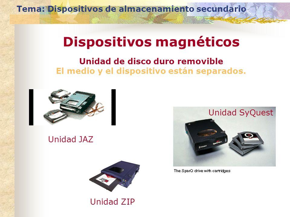 Tema: Dispositivos de almacenamiento secundario Dispositivos magnéticos Unidad de disco duro removible El medio y el dispositivo están separados. Unid