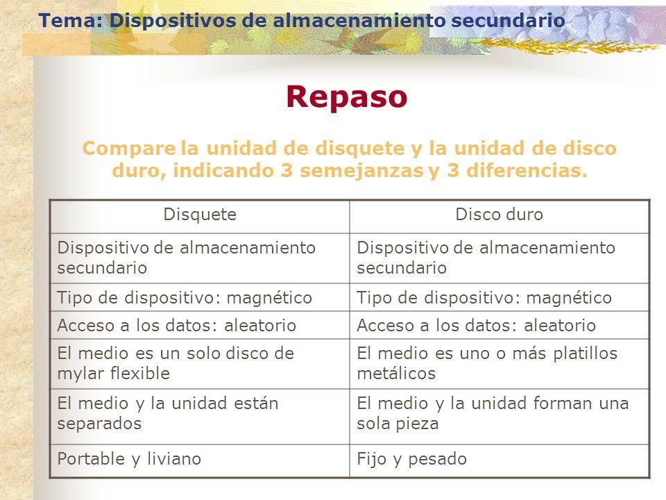 Compare la unidad de disquete y la unidad de disco duro, indicando 3 semejanzas y 3 diferencias. Tema: Dispositivos de almacenamiento secundario Repas