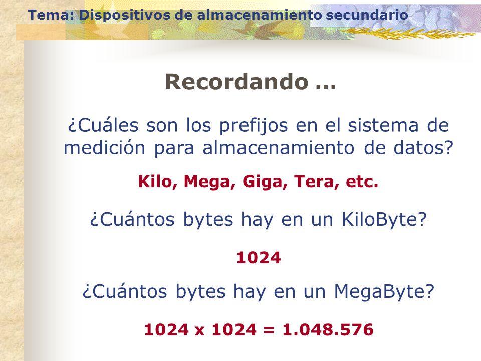 Tema: Dispositivos de almacenamiento secundario Recordando … ¿Cuáles son los prefijos en el sistema de medición para almacenamiento de datos? Kilo, Me
