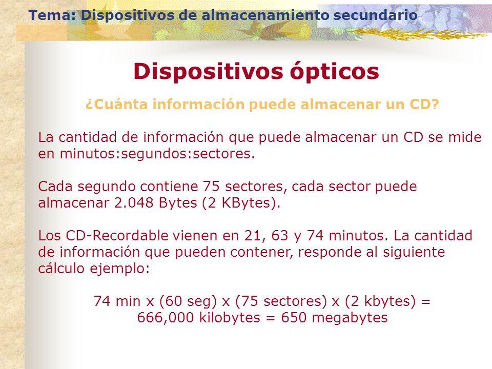 Tema: Dispositivos de almacenamiento secundario Dispositivos ópticos ¿Cuánta información puede almacenar un CD? La cantidad de información que puede a