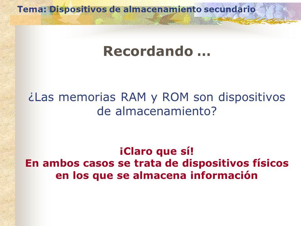 Recordando … Tema: Dispositivos de almacenamiento secundario ¿Las memorias RAM y ROM son dispositivos de almacenamiento? ¡Claro que sí! En ambos casos