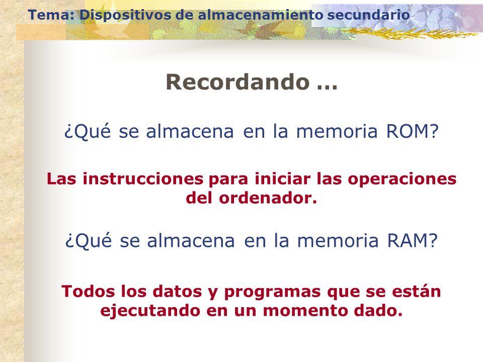 Tema: Dispositivos de almacenamiento secundario Recordando … ¿Qué se almacena en la memoria ROM? Las instrucciones para iniciar las operaciones del or