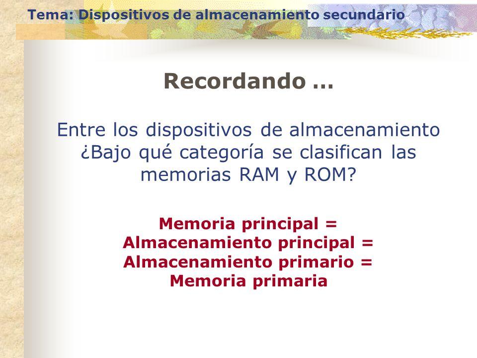 Tema: Dispositivos de almacenamiento secundario Entre los dispositivos de almacenamiento ¿Bajo qué categoría se clasifican las memorias RAM y ROM? Mem