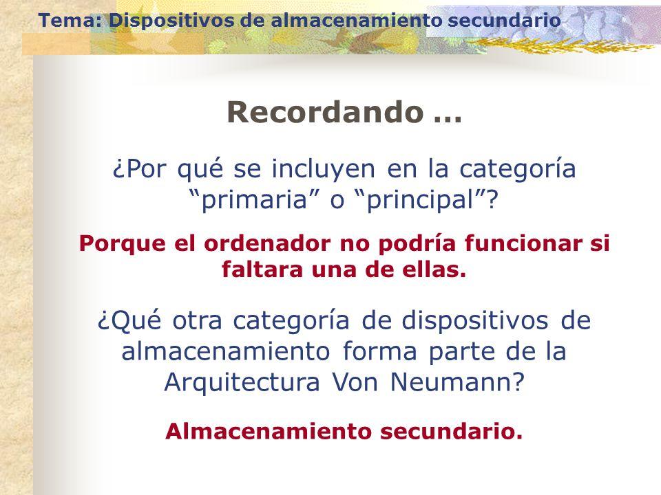 Tema: Dispositivos de almacenamiento secundario ¿Por qué se incluyen en la categoría primaria o principal? Porque el ordenador no podría funcionar si