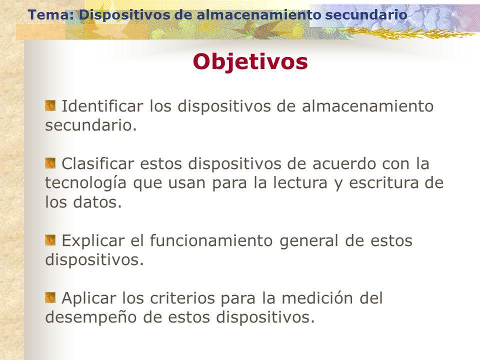 Objetivos Tema: Dispositivos de almacenamiento secundario Identificar los dispositivos de almacenamiento secundario. Clasificar estos dispositivos de