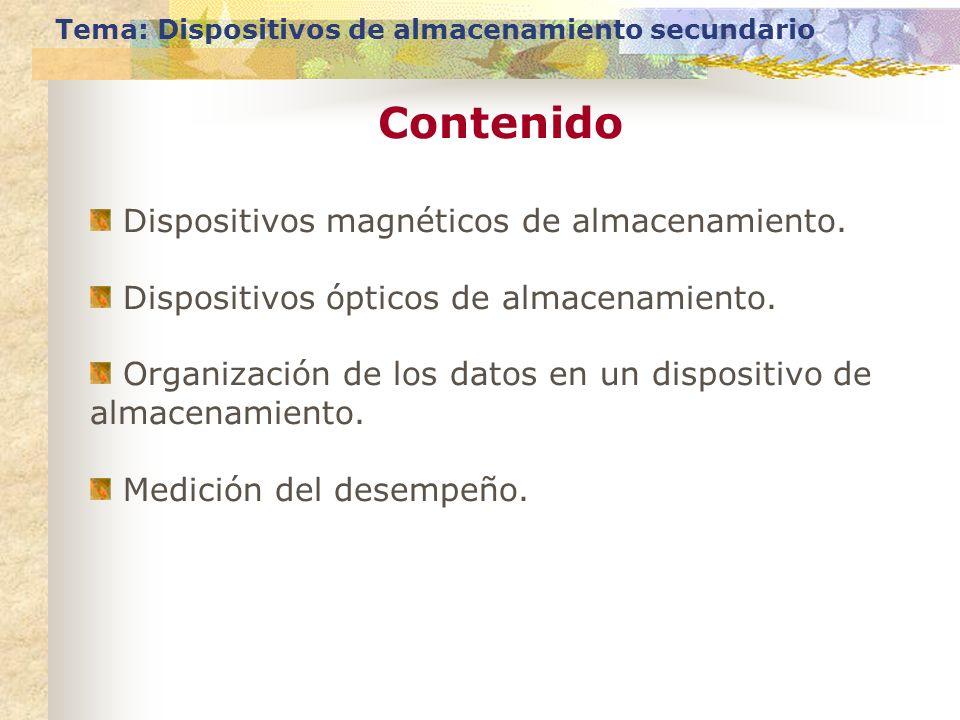 Contenido Tema: Dispositivos de almacenamiento secundario Dispositivos magnéticos de almacenamiento. Dispositivos ópticos de almacenamiento. Organizac