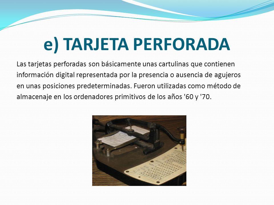 d) CINTA MAGNÉTICA La cinta magnética es un tipo de soporte de almacenamiento de información que se graba en pistas sobre una banda de un material mag