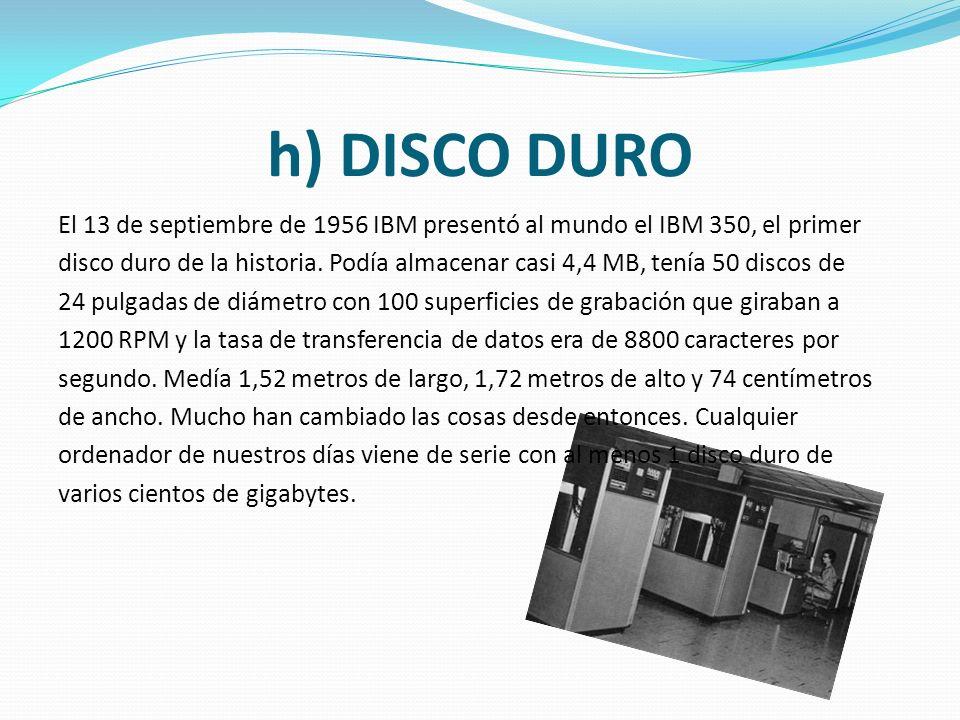 g) LASERDISC La tecnología Laserdisc fue inventada por David Paul Gregg en 1958, pero el primer disco de vídeo que hacía uso de la misma no fue mostra