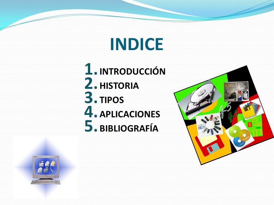 INDICE 1. INTRODUCCIÓN 2. HISTORIA 3. TIPOS 4. APLICACIONES 5. BIBLIOGRAFÍA