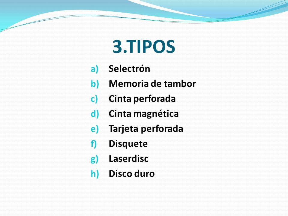 3.TIPOS a) Selectrón b) Memoria de tambor c) Cinta perforada d) Cinta magnética e) Tarjeta perforada f) Disquete g) Laserdisc h) Disco duro