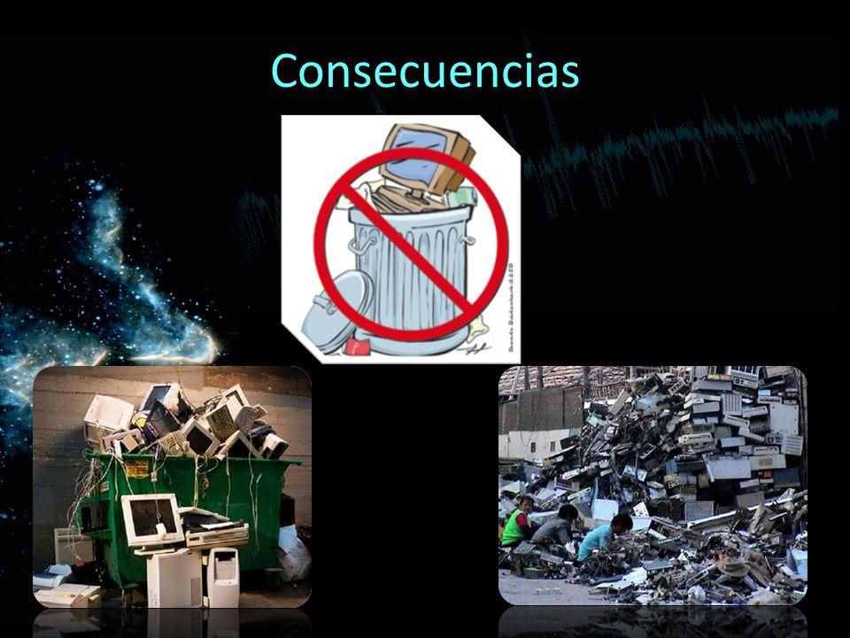Consecuencias La chatarra electrónica o basura tecnológica es un conjunto de residuos considerados peligrosos, provenientes decomputadoras,telefonos e
